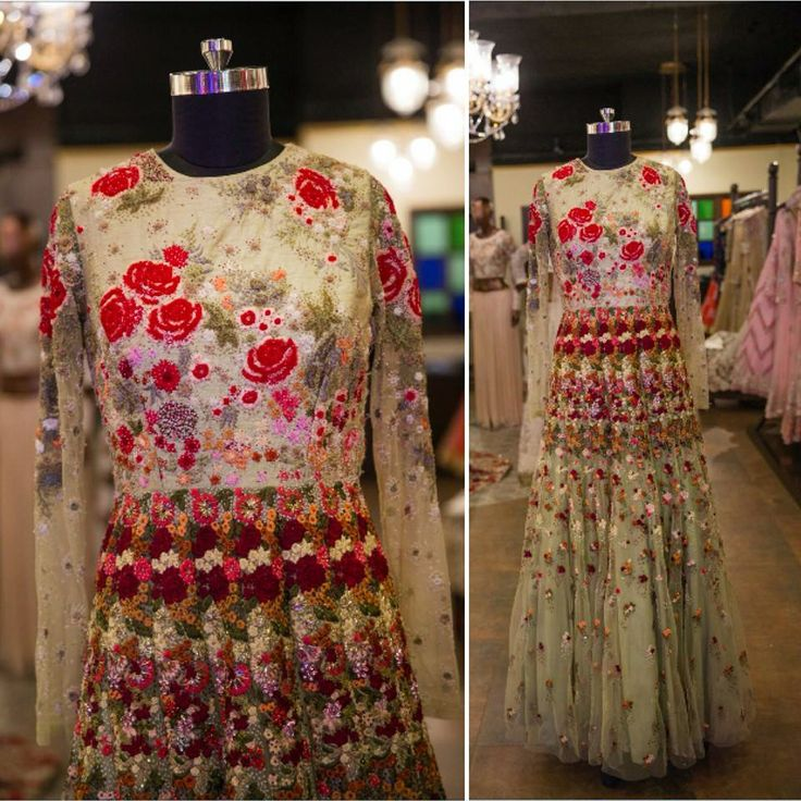 Isn't this floral pale green gown a masterpiece from Varun Bahl's 'Song of the Flower' collection?