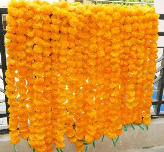 12 Pcs Indian Marigold Garlands Puja Fluffy Flower Plastic 5Feet Home Decoration