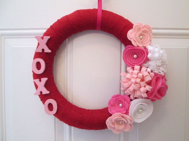 Valentine Wreath, Burlap Wreath, Red, Pink. White Burlap and Felt Flower Wreath, XOXO, Burlap Wrapped Wreath, Door Wreath, by AnitaRexDesigns on Etsy https://www.etsy.com/listing/175085603/valentine-wreath-burlap-wreath-red-pink