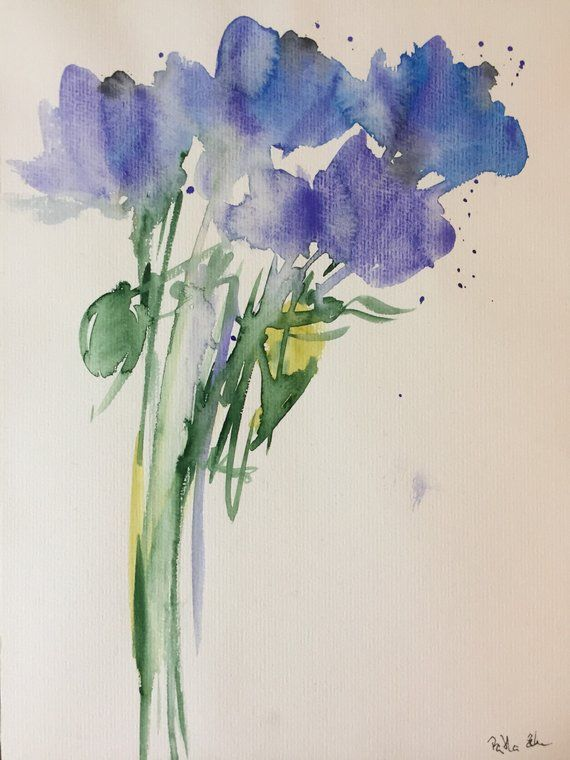 Original Aquarell Aquarellmalerei Bild Kunst Blumen Abstrakte