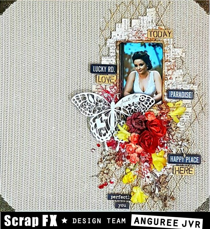 Layout features Scrap FX chipboard Blooming Butterfly, and wordset Today. www.scrapfx.com.au