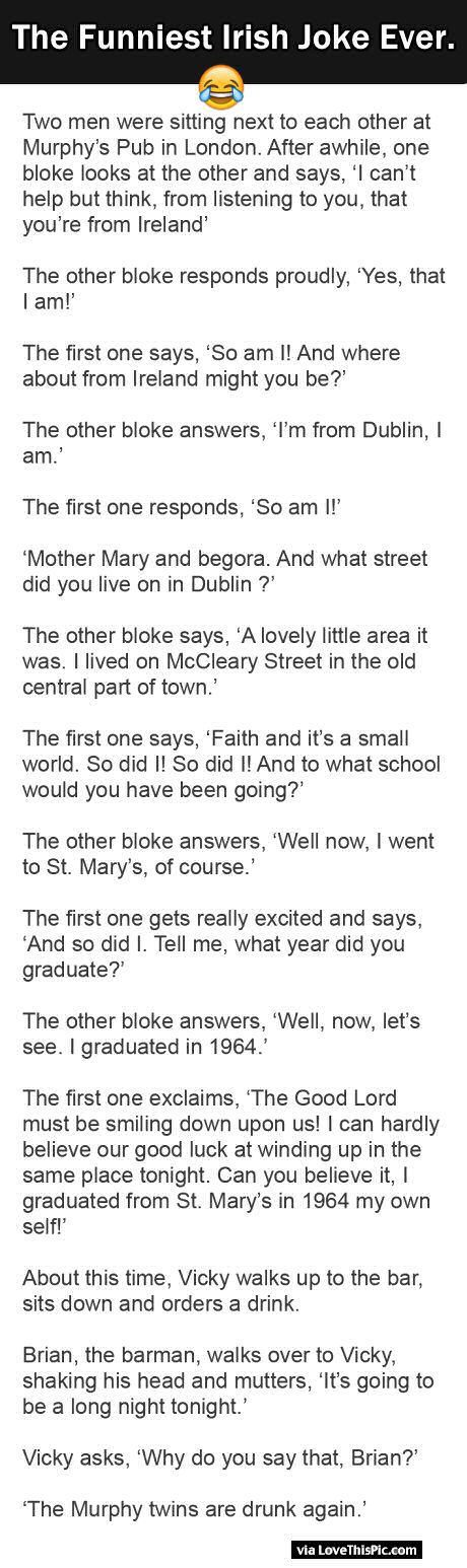 The Funniest Irish Joke Ever
