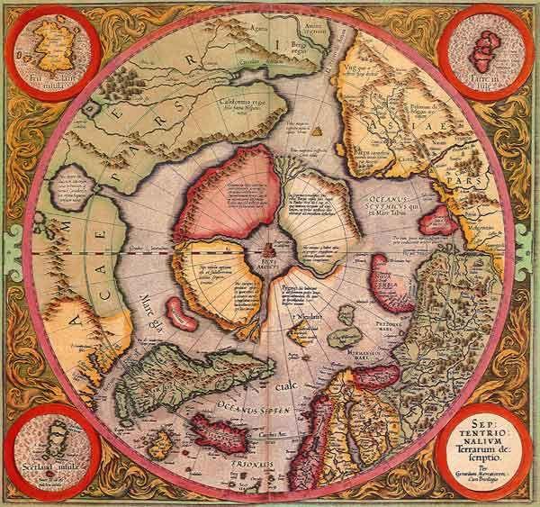 Старинная карта Арктики и Северного полюса - Старые карты - Terra Incognita. Сайт Рэдрика