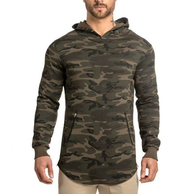 2017 spring new Mens Camouflage Hoodies Fashion leisure pullover fitness Bodybuilding jacket Sweatshirts sportswear clothing
