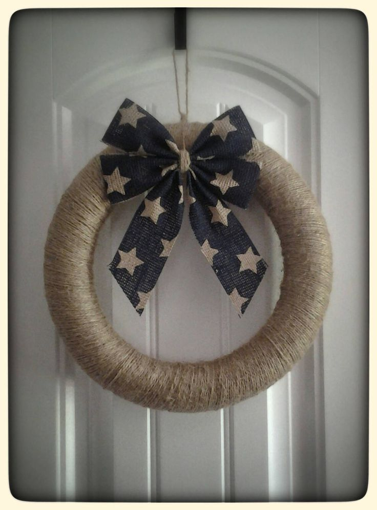Primitive Wreath, Twine Wreath, 4th of July Wreath, Summer Wreath, Handmade Wreath, Wreath with Bow, Wreath for Door, Front Door Wreath by DreamingofSkylines on Etsy