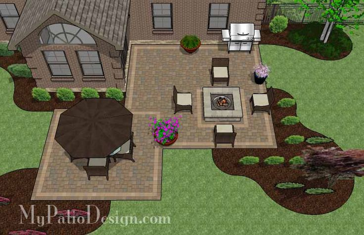 Fun Family Patio Design With Fire Pit   545 Sq. Ft