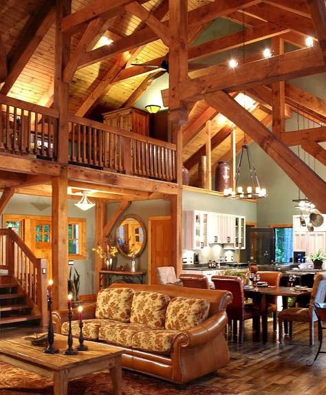 Timber frame home loft