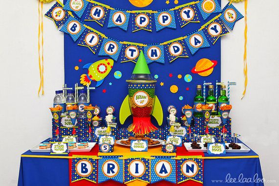Space Rocket Birthday Party Package Collection Set by LeeLaaLoo