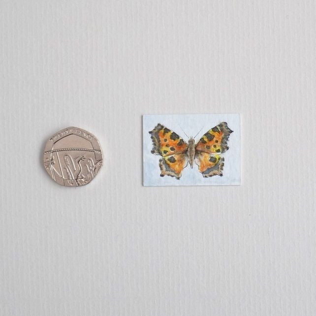 Miniature Watercolour Painting 'Small Tortoiseshell butterfly' £6.00