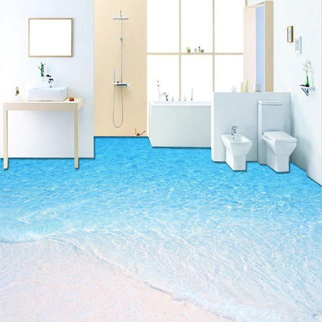 Benutzerdefinierte Foto Boden Tapete 3d Strand Meerwasser Wohnzimmer Badezimmer Boden Wandmalereien Pvc Vinyl Wallpaper Wandgemalde Ideen Selbstklebende Tapete
