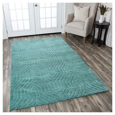 Rizzy Home Technique Collection Hand-Loomed 100% Wool Accent Rug - Blue/Dark Teal (3' x 5'), Durable