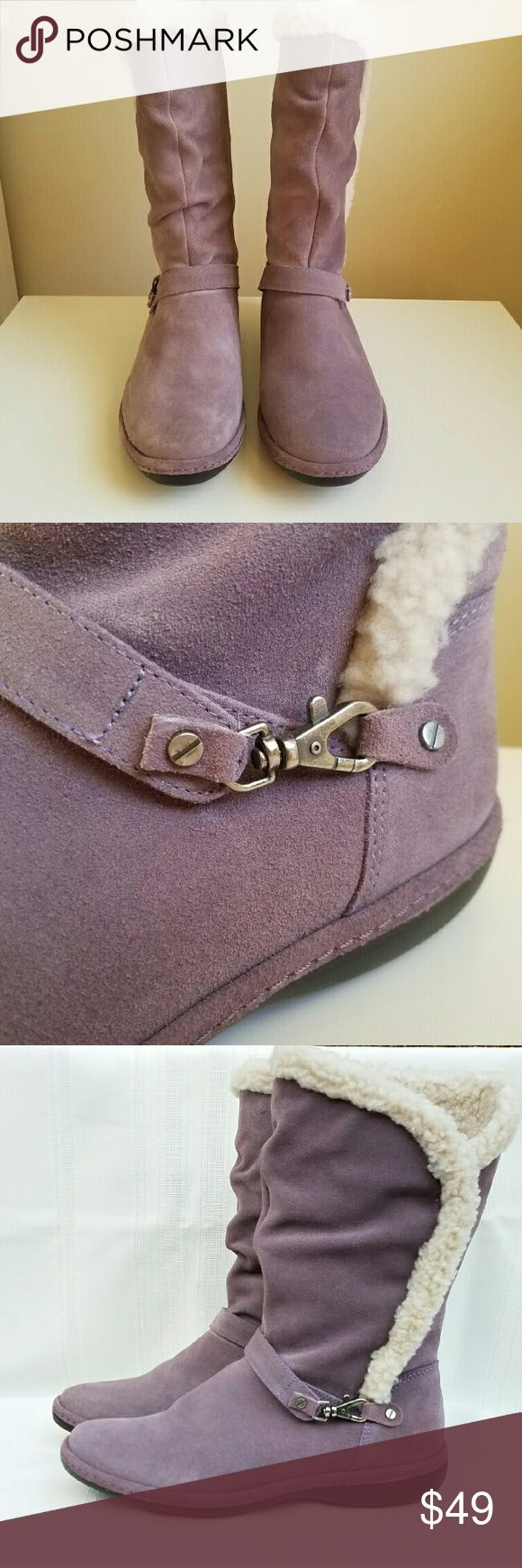 Land?s end winter suede boots Land's End lilac Sherpa lined boots. Slouchy look. Hardly worn. Great with jeans or leggings and scarves and coats! Very warm and comfortable! Excellent condition. Lands' End Shoes Winter & Rain Boots
