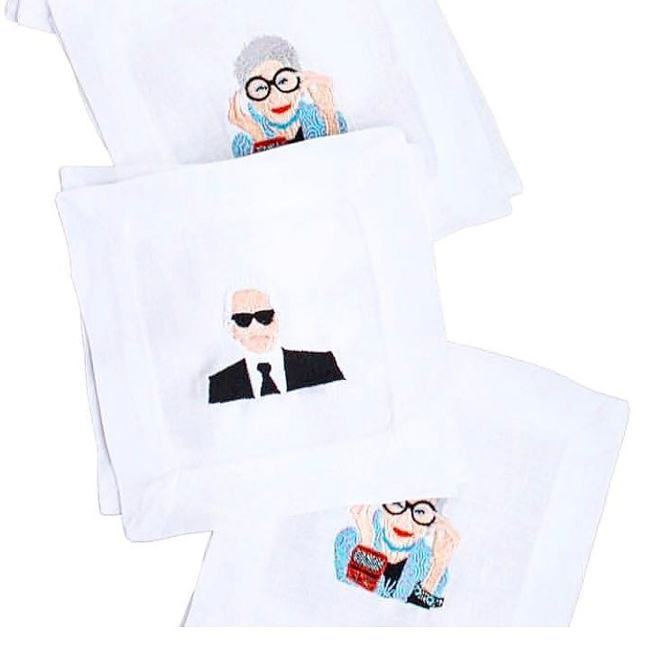 Obsessed with these new @shoplettermade @iris.apfel and @karllagerfeld embroidered cocktail napkins. Ordering mine straight away! #iconirisapfel #irisapfel #karllagerfeld #embroidery #shoplettermade