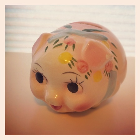Pushing the Reset Button in a new year includes putting $ into this adorable piggy bank each week