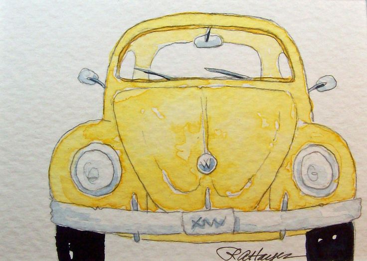 watercolor bug by Rose Ann Hayes. My husband drove a car like this when we met. It had no heat! Good memories.