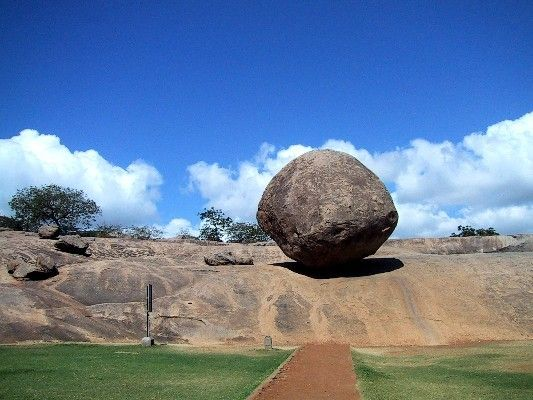 """Krishna's butterball"" is a giant glacial erratic perched on a hillside near Mamallapuram, India"