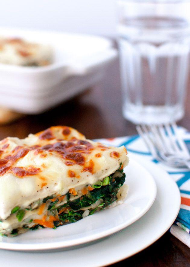Vegetable Alfredo Lasagna - Taming of the Spoon #Sports