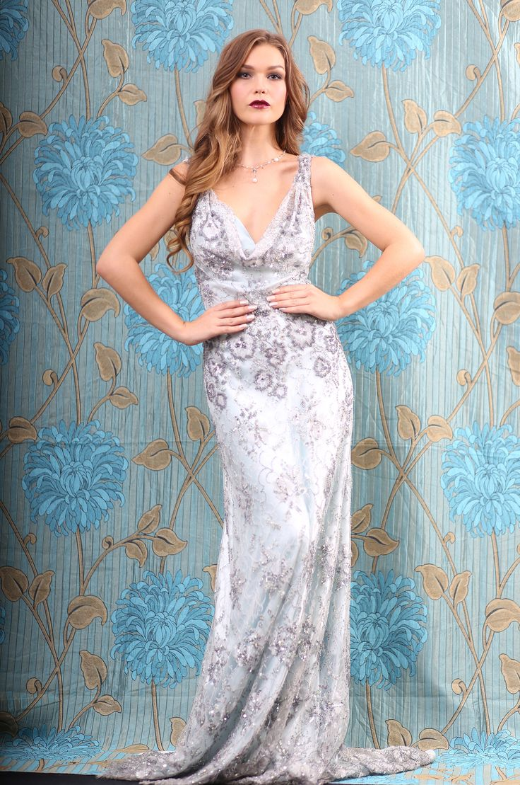 Metallic lace and silver sequin gown