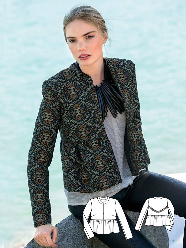 """Transform a plain outfit into a """"wow"""" outfit with this collarless peplum jacket featuring a close-fitting standing collar, a peplum and sewn-in satin piping. There is a lot happening on the backside, so make sure to take note of the deep black fringe trim that outlines the curve of the back yoke."""