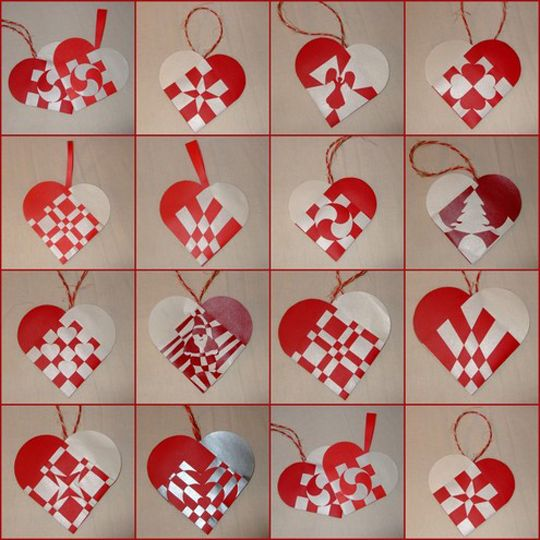 Scandinavian Paper Hearts: We've made these for Christmas ornaments, but they'll work for St. Valentines too.