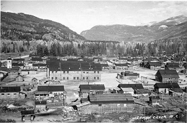 """The Lemon Creek Internment Camp, (photo taken c. 1944-1945), constructed specifically to intern Japanese Canadian families. On February 24, 1942, an order-in-council passed under the Defence of Canada Regulations of the War Measures Act giving the federal government the power to intern all """"persons of Japanese racial origin"""" in British Columbia."""
