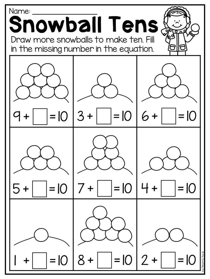 Making Ten Worksheet For Kindergarten Winter Theme This Winter Kindergarten Math And Li Winter Math Worksheets Preschool Winter Math Winter Math Kindergarten Free kindergarten winter math worksheets