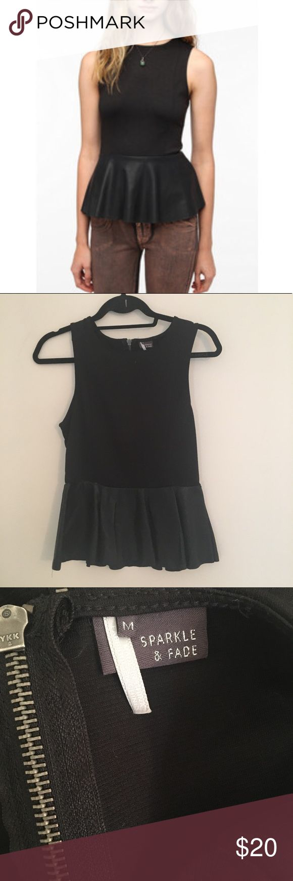 Sparkle & Fade Faux Leather Peplum Top Size medium. Super cute and great condition. Urban Outfitters Tops Tank Tops