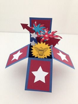 Fourth of July/Independence Day Card for older students!  DOWNLOADABLE templates, just copy and distribute.  Easy way to do paper crafting with older students. Download here only $1.75, minimal prep-work for teachers! http://www.teacherspayteachers.com/Product/Fireworks-Fourth-of-JulyIndependence-Day-Card-1251875