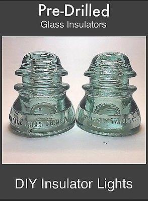 2 PRE-DRILLED INSULATORS - Pre Drilled Glass Insulators DIY Pendant Pipe Lamp