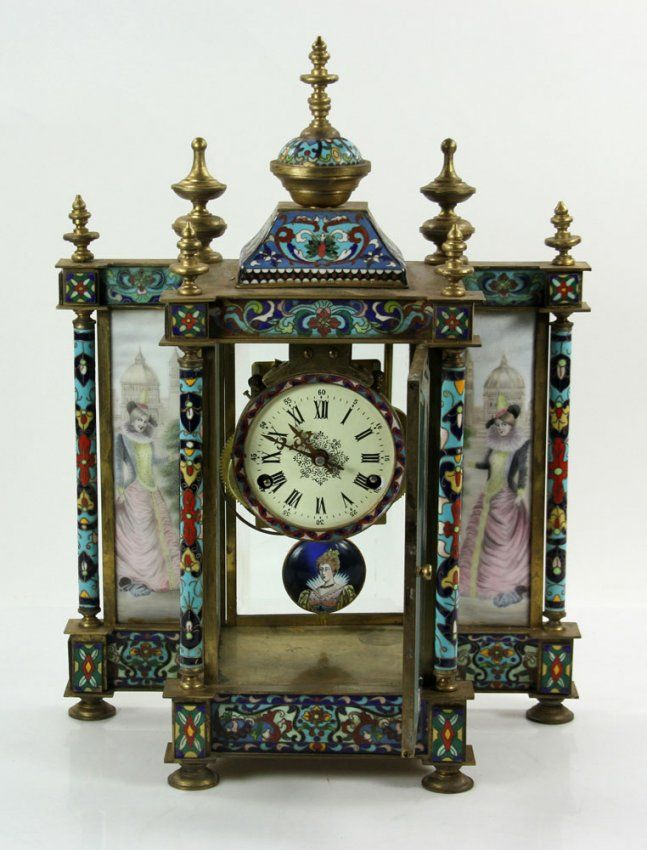 French Champleve Enameled Brass Clock : Lot 4468