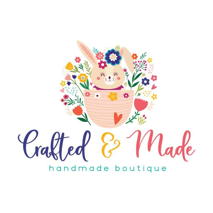 Cute Bunny Premade Logo Design - Customized with Your Business Name!