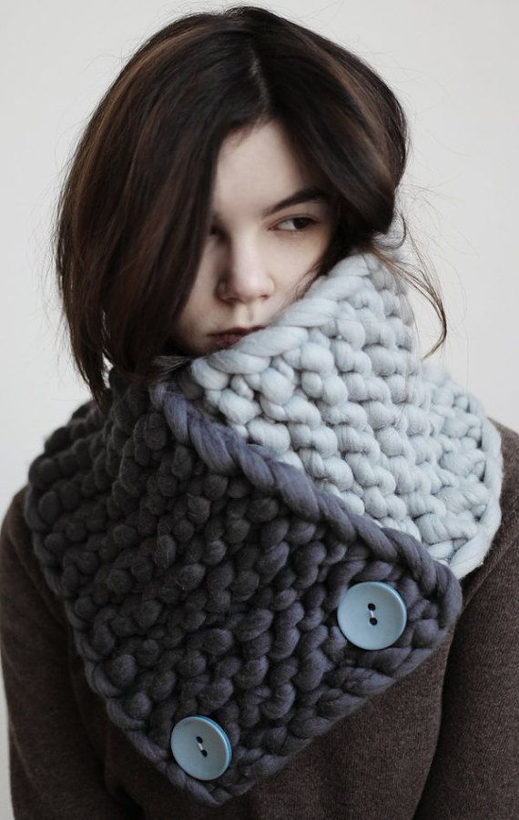 MERINO wool hand knitted cowl/ Super Chunky by celestialbodystore