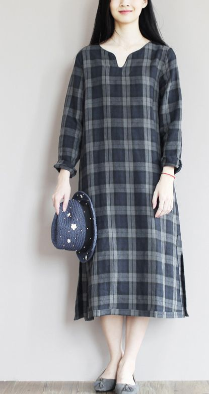 Classic plaid pattern back in the 1920's China and maybe England. dark blue linen sundress simple unique style summer shift dresses oversize caftan