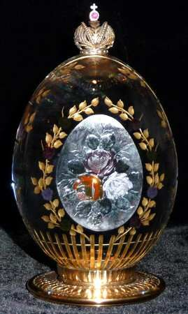 FABERGE CRYSTAL EGG  ManufacturerName=FABERGE+CRYSTAL  PIECE NAME: THE ROSE GARDEN