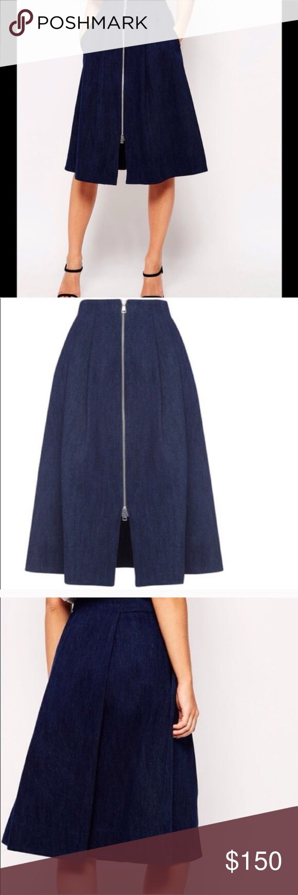NWT WHISTLES Midi Denim Skirt From British retailer WHISTLES comes this brand new skirt. 100% denim, a-line skirt with a fitted waist & flattering pleats. Deep front pockets on the hip. NWT. Waist 26 x length 28. UK10/US6 Whistles Skirts