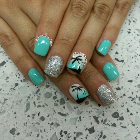 Mint and silver nails. Palm trees.