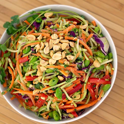 Rainbow Asian Slaw with Spicy Honey, Sesame, Ginger Dressing by heatovento350: Gifts Cards, Asian Salad, Heat Ovens, Spicy Peanut, Asian Slaw, Gingers Dresses, Peanut Dresses, Rainbows Asian, Peanut Gingers