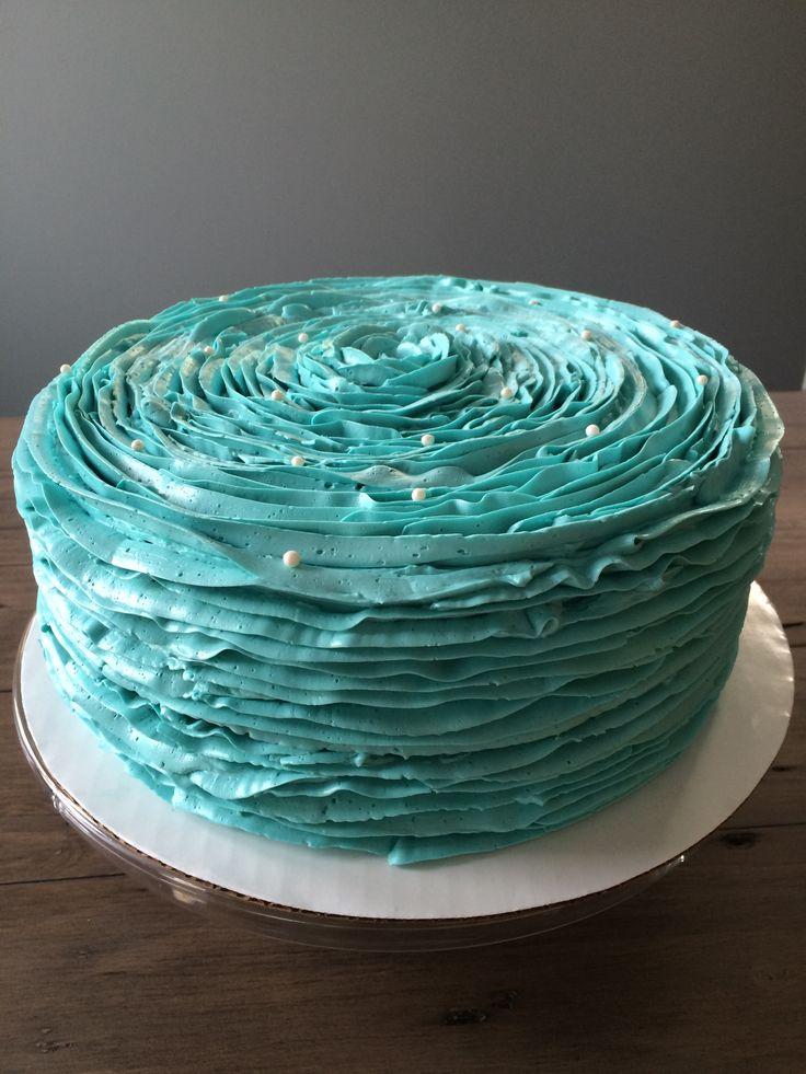 Roses and ruffles baby shower cake