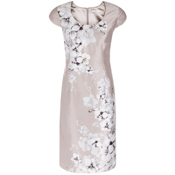 Jacques Vert Petite Orchid Placement Dress, Neutral (£49) ❤ liked on Polyvore featuring dresses, petite, petite dresses, petite maxi dress, petite formal dresses, floral maxi dress and formal dresses