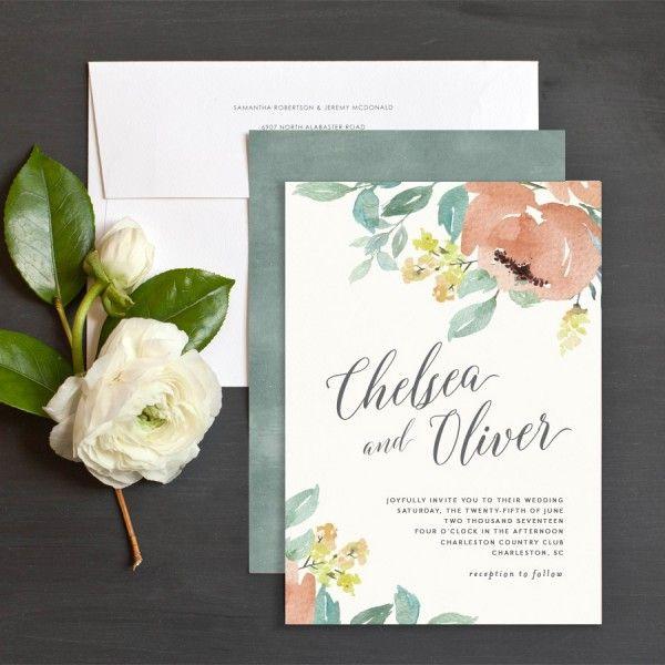 Green And Peach Wedding Invitations