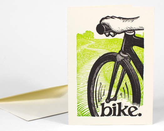 Bicycle related artisan works (image shown:peter-nevins-bike-card)