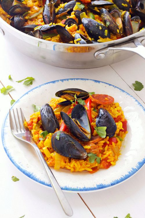 Easy One-Skillet Paella with Chorizo & Blue Mussels