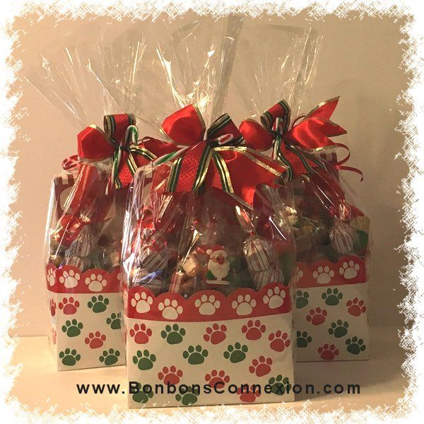 Christmas gift packaging filled with candies and chocolates.