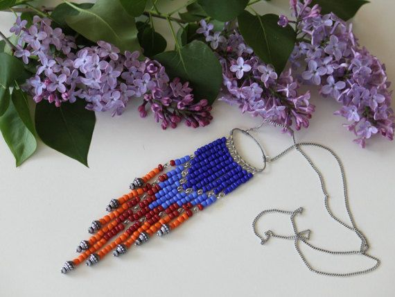 Native american colourful beaded necklace. by DeaJewelryStore