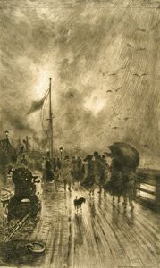 Leaving the Ship in England, Felix Hilaire Buhot, 1879, etching, 12 1/2 in. x 7 3/8 in. Currier Museum of Art.