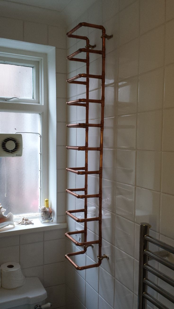 copper pipe towel rack. for 10 towels made from 15mm copper pipe.  This took me about 4.5 hrs total time, and looks lovely in the bathroom.