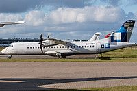 Nordic Aviation Capital (NAC) ATR 72-500 (72-212A) OY-YBH airvraft, parked at Denmark Billund Airport. 29/08/2016.
