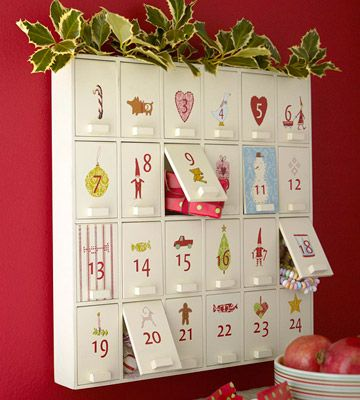 """""""Behind Closed Doors: Turn a wooden cabinet into a surprise-filled Advent calendar by embellishing each door with rub-on numbers and designs from the scrapbooking aisles."""""""