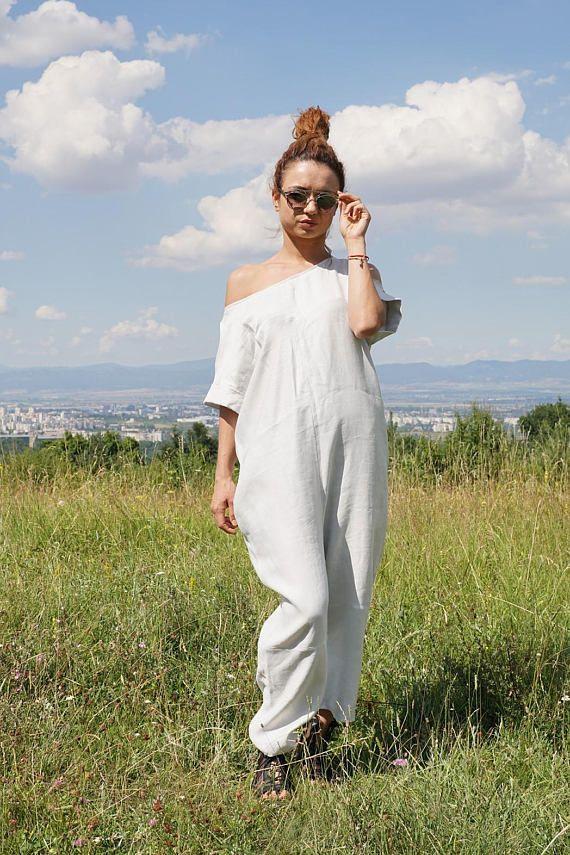 10c596d27125 Linen Baggy Drop Crotch Overall Summer White Harem Jumpsuit