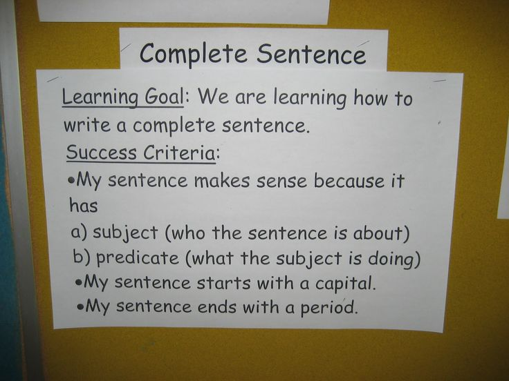 Success Criteria for Sentences